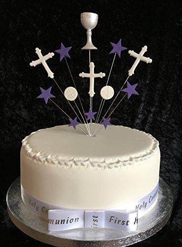 Karen's Cake Toppers Fait à la Main Gâteau de Communion avec Calice, centres, hôte et étoiles Idéal pour Un gâteau de 20 cm – Violet et Blanc Plus 1 x 22 mm satiné Communion Ruban avec nœud