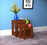 #8: Custom Decor Alena Solid Wood Stool Set of 3 Nesting Bedside Tables - Indian Sheesham Wood Furniture(Mahogany Color)