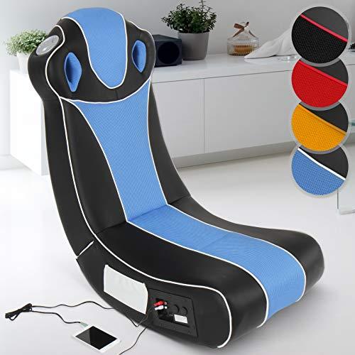 Soundsessel in diversen Farben | aus Kunstleder, zusammenklappbar, mit Lautsprecher, Surround und Subwoofer | Soundchair, Multimediasessel, Musiksessel, Musikstuhl, Gaming Chair,Music, Rocker (Blau)