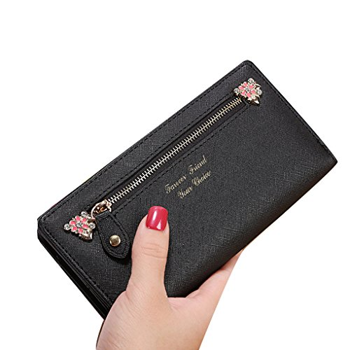 KOROWA Borsa a tracolla in pelle borsa borsa lunga donna Portafoglio borsa frizione borsa nera nero