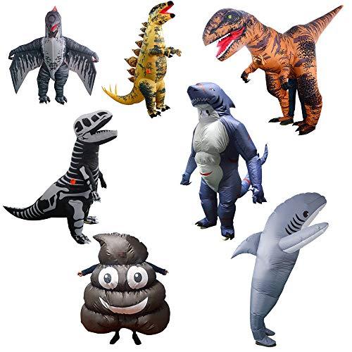 re Dinosaurier Hai Kostüm Blow Up Kostüm Halloween Weihnachten Karneval Party Cosplay Ganzkörper-Outfit,H ()