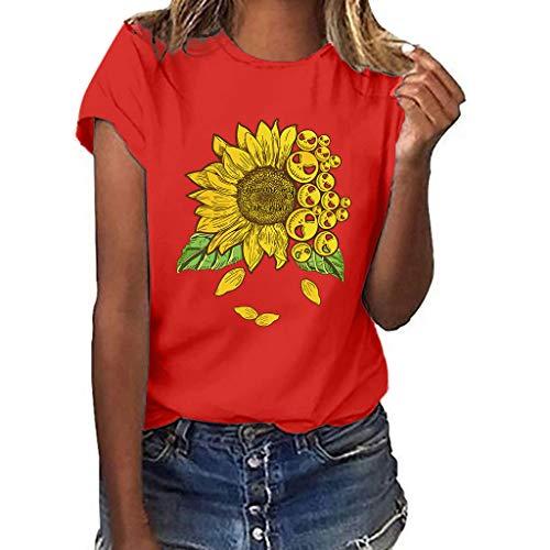 Slub-baumwolle Kurz (routinfly Frauen Kurzarm T-Shirt,Kurzärmliges bedrucktes Sonnenblumen-T-Shirt in Übergröße Drucken Sie lustige Sonnenblume Kurzarm T-Shirt Bluse Tops M-3XL)