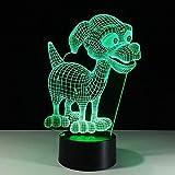 3D Illusion Night Light bluetooth Smart Control 7 & 16M App mobile a colori Visione a led Bella cucciola Scrivania Baby Room Cartoon Culla per dormire Be Be Acrilico USB Compleanno Camera da letto