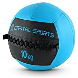 Capital Sports Wallba 10 Wall Ball Leder Medizinball 10kg Trainingsgewicht (Kunstleder, klassisches Design, extra griffiges Handling) dunkelblau -