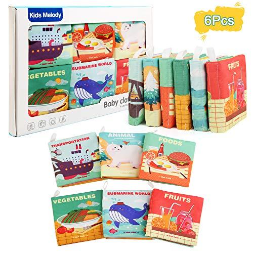 Ballery Libros Blandos para Bebé, no tóxicos Educación temprana Libro de Tela Desarrollo de Inteligencia Libro de Cognición Aprendizaje y Educación para Bebé Recién Nacido Niños 6 Piezas