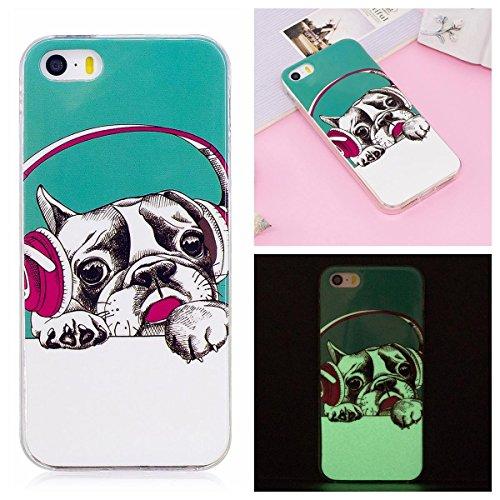 OnlyCase iPhone 5 / iPhone 5S Hülle Handyhülle Schutzhülle, Nachtleuchtender grüner Glühen im dunklen Handy Etui Anti-Kratzer Anti-Staub Case Cover stoßsicherer Mobiltelefon-Kasten, Musik Hund (Iphone 5s Musik-handy-fälle)