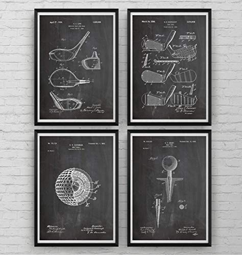 Golf Patent Poster Affiche - Set Of 4 - Sports Gift Fathers Dad Vintage Men Women Blueprint Wall Print Art Decor - Frame Not Included