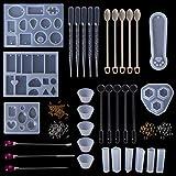 Zzqyis Kit de resina epoxi,Molde de silicona, Gotero Copa,Cuchara, Guantes,Anillos de metal, Collar de bricolaje,Joyería de marcadores Herramientas
