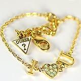 Guess Damen-Armband KISS & Love mit Anhänger Edelstahl teilvergoldet Kristall grün 19 cm-UBB61096-S
