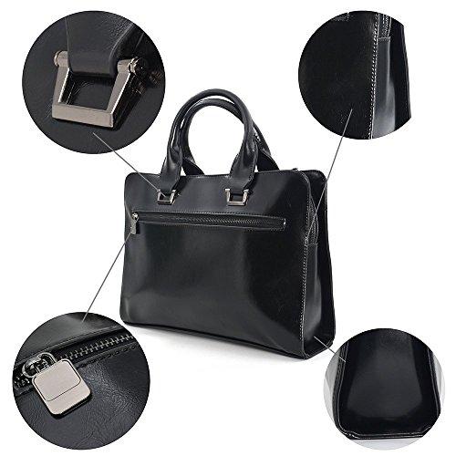 BAIGIO Herren Vintage PU Laptoptasche businesstasche Beruf Schultertasche Aktentasche Lehrertasche Unitasche Umhängetasche Praktisch Tasche,Braun Schwarz