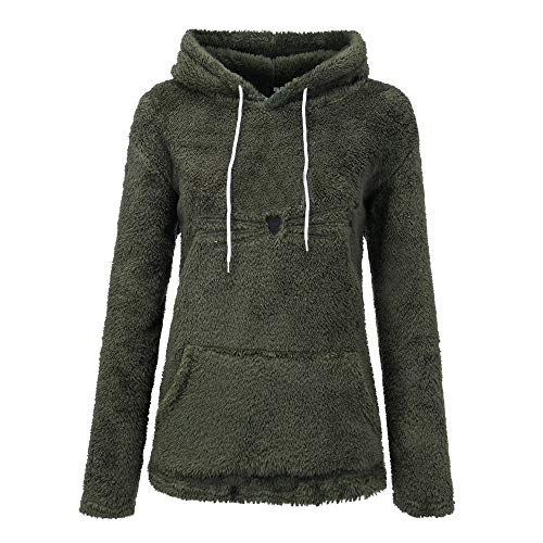 TWIFER Winter Langarm Künstlich Fleece Sweatshirt Warme Bärenform Fuzzy Hoodie Pullover Outwear