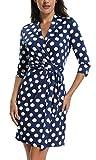 Miss Moly Wickelkleid Damen 3/4 Ärmel Gepunktetes Kleid Partykleid Abendkleid Polka Dots Blau - XL
