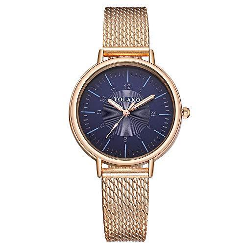 COOKDATE Herren Damen Analog Uhr Minimalismus Dünn Elegant Luxusuhr Lederarmband Blau