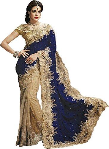 Kjp Villa Women\'s Net & Velvet blue Free Size embroidery Saree With Blouse Pics (zeel saree-178)