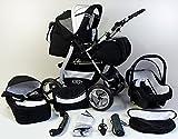 Clamaro 'VIP 2018' 3in1 Premium Kinderwagen Kombi mit Soft Babywanne, Sport Buggy und Autositz Babyschale Gruppe 0+ (0-13 kg), Design: 4. Grau Hartgummi Bereifung - 19. Schwarz-Weiss