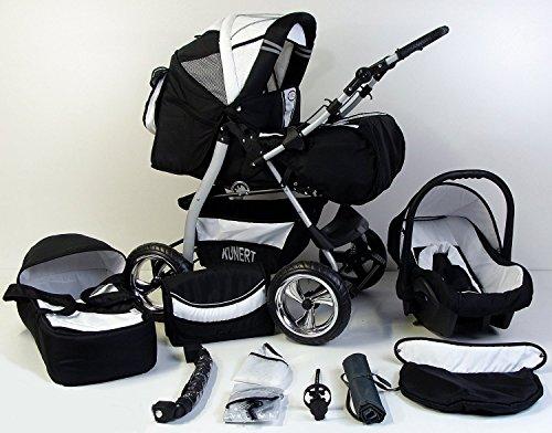 Clamaro \'VIP 2018\' 3in1 Premium Kinderwagen Kombi mit Soft Babywanne, Sport Buggy und Autositz Babyschale Gruppe 0+ (0-13 kg), Design: 4. Grau Hartgummi Bereifung - 19. Schwarz-Weiss