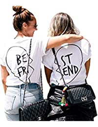 Ruiying Best Friends Amigas Mejores Camisetas Mujer Forma Amor Manga Corta Verano Casual Negro Playa Tops