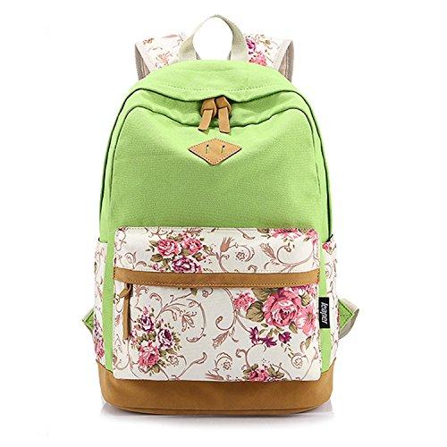 HanLuckyStars® Rucksack Schulrucksack Printed Canvas iPad Tablet- PC- Rucksack 14.7 inch Schülerin Blumendruck Rucksack Wandern Urlaubsreisen für Mädchen und Frauen