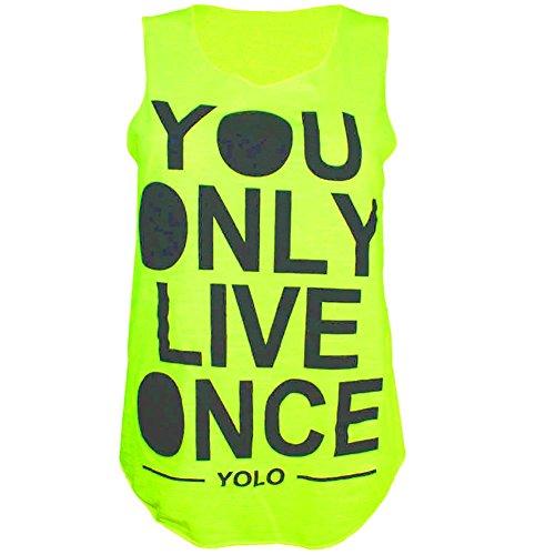 New Ladies Gilet sans manche tricot pour femme «Yolo You Only Live Once imprimé Jaune - Jaune fluo