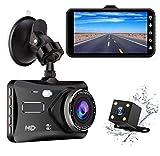 BHPL Caméra de Voiture 4 Pouces HD 1080P Voiture conduisant enregistreur Avant et arrière Double Objectif Support inverser l'image