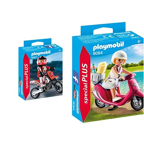 Playmobil 9357 - Motocross-Fahrer Spiel &  9084 - Strand-Girl mit Roller