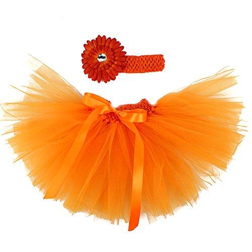 Honeystore Baby Fotoshooting Kostüm Haarbänder Rock Set Foto Outfit Stirnbänder Farbenfroh Tütü Balletrock Mini Unterrock Fotografie Verkleidung One Size Orange mit (Kostüme Ballett Professionelle Tutu)