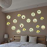 Mamum - Glow dans Les Autocollants Fluorescents Lumineux Lumineux de Mur Smiley Font Face à la Maison Tout-Puissant