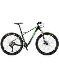 """SAVA 27.5"""" Bicicleta de Montaña de Fibra de Carbono SHIMANO Deore XT SR SUNTOUR Horquilla de Suspensión Mountain Bike Maxxis Neumáticos Fi'zi:k Cojín (Negro & Verde)"""