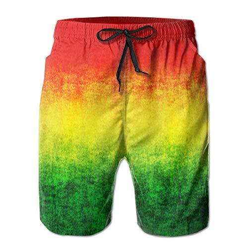 Bensontop Herren Quick Dry Badehose Shorts Beachwear-Feature Rasta Grunge XL (Rasta Herren Shorts)