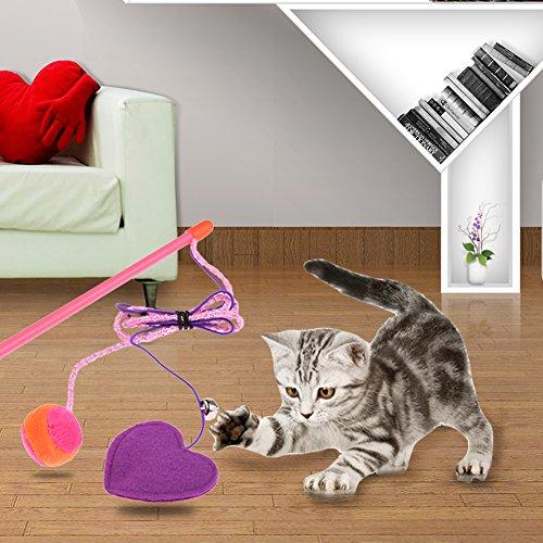 Awhao mascotas juguetes corazón gatera gato teasers juguete con campana