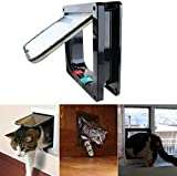 Volwco 4 Way Locking Cat Flap,Replacement Magnetic Cat Flap Door for Window Interior and Outdoors,Easy Install on Doors/Cupboard/Walls(L Outer Size 9.9 x 9.2 x2.1 inch)
