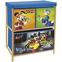Arditex–Mueble de Metal para almacenamiento (3compartimentos bajo licencia Mickey Mouse dimensiones: 53x 60x 30cm, poliéster, 53x 30x 60cm)