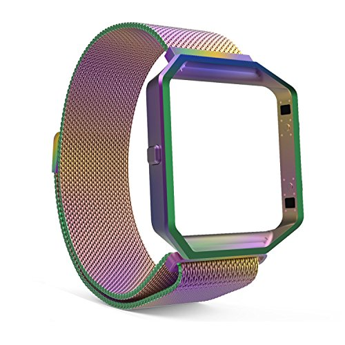 Fitbit Blaze Bands und Rahmen Zubehör Band, das aus Rahmen Gehäuse mit Magnet Lock Loop Edelstahl Milanaise Armband Strap Band für Fitbit Blaze Smart Fitness Watch + Schutzfolie