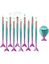 Daxstar 11 Pcs Pinceaux De Maquillage Sirène, Makeup Brushes Complet Soyeux Fibres Synthétiques Souples Maquillage Brush Set Pour Fond De Teint, Blush, Correcteurs Pour Les Yeux