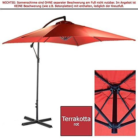 habeig® 2,5m Ampelschirm Terrakotta eckig Sonnenschirm Kurbelschirm Schirm Gartenschirm ca. 250cm