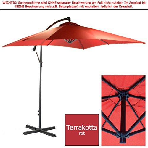 habeig 2,5m Ampelschirm Terrakotta Sonnenschirm Kurbelschirm Schirm Gartenschirm ca. 250cm