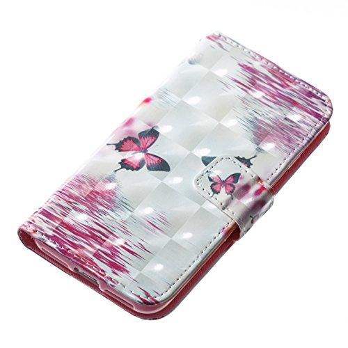 Cover iphone 7 / iphone 8 ,Custodia iphone 7 / iphone 8, COZY HUT Elegante borsa sollievo Design in Pelle PU Case Cover Protettiva Flip Portafoglio Case Cover Protezione Caso per iphone 7 / iphone 8 / Farfalla rossa