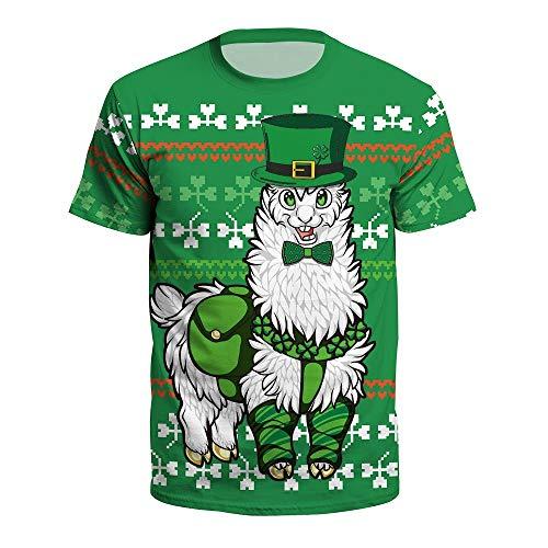 ManY lustige T-Shirts Wild Digitaldruck Rundhals Pullover Kurzarm T-Shirt Clover Süßes Alpaka Bier St.Patrick's Day Grün for Unisex Damen Herren Männer Frauen Beiläufig (Color : Green, Size : XXXL) -