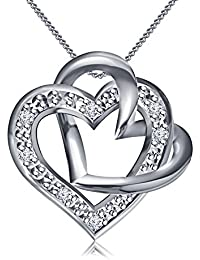 Vorra Fashion Genuine Platinum Plated 925 Sterling Silver Round Cut White Cubic Zirconia Double Heart Pendant...