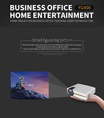LEJIADA Projector New YG400 Home Micro LED HD Projector Mobile Computer USB Multi-Connect Mini Projector White