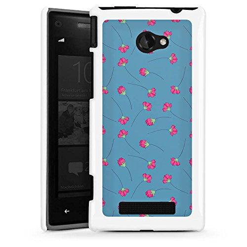DeinDesign HTC Windows Phone 8X Hülle Schutz Hard Case Cover Blumen Blau Herz