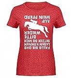 Hochwertiges Damen Melange Shirt - Pferd Reitsport Mädchen Reiterin Spruch Falls Sie Das Lesen Können Reiten Geschenk