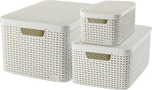 CURVER Style Aufbewahrungsbox-Set, Kunststoff, Creme, 7L/18L/30L