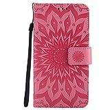 Motorola Moto G4 / G4 Plus Hülle, Chreey [Prägung Indische Sonne] Lederhülle Sonnen Blume Brieftasche Wallet Tasche Magnet Flip Case Handyhülle Etui mit Kartenfach Ständer [Rosa]