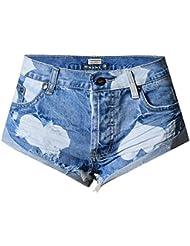 Wgwioo Les Femmes Perdent Les Pantalons Chauds Les Courts Métrages De Plage L'Impression De Denim Jeans Vacation Nightclub