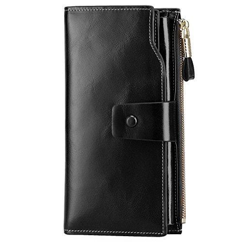 S-ZONE Damen groß Kapazität echtes Leder Geldbörsen mit Reißverschluss-Tasche (Schwarz)