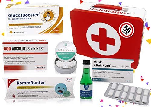 50. Geburtstag | Erste Hilfe Set Geschenk-Box, witziger Sanikasten | 8-teilig | Spaßgeschenk zum 50. Geburtstag