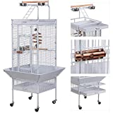 Yaheetech Large Metal Bird Cage for Parrot Cockatiels Conure Lovebirds Sun Parakeets Budgies Finches with Play Top Perch Stand and Wheels White