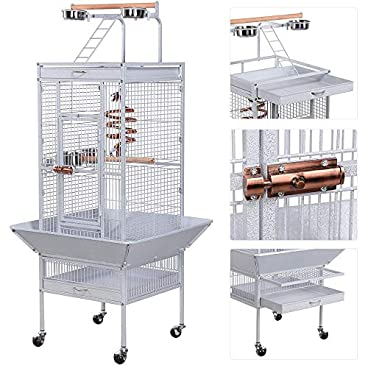 Yaheetech Large Metal Bird Cage for Parrot Cockatiels Conure Lovebirds Sun Parakeets Budgies Finches with Play Top Perch Stand and Wheels(White)