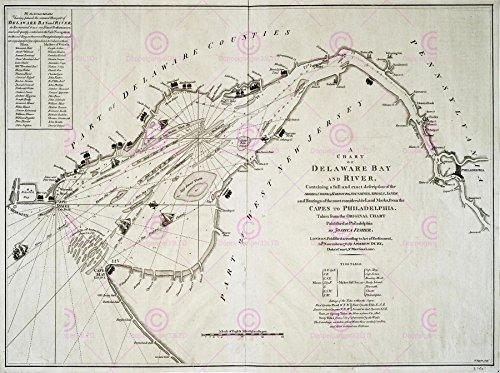 Delaware Rivers Map (Doppelganger33 LTD Map 1776 Fisher Delaware Bay River USA Large Canvas Art Print Vereinigte Staaten von Amerika)